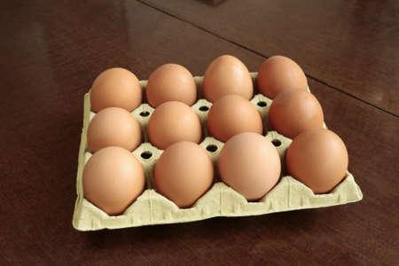 gallina con huevos: huevos frescos de gallina marr�n