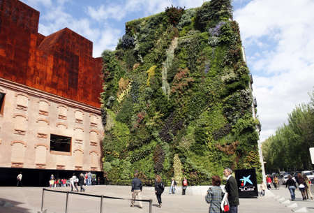 botanist: Caixa Forum and facade of plants by botanist Patrick Blanc in Madrid (Spain) 27 April 2009