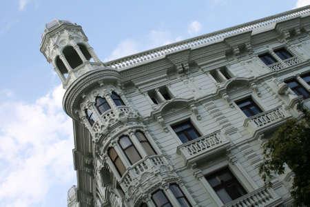 santander: Building with tower and balconies in Santander Spain Editorial