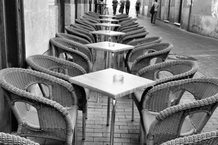 wicker bar: Table and wicker chairs of cafe in Valladolid, Spain