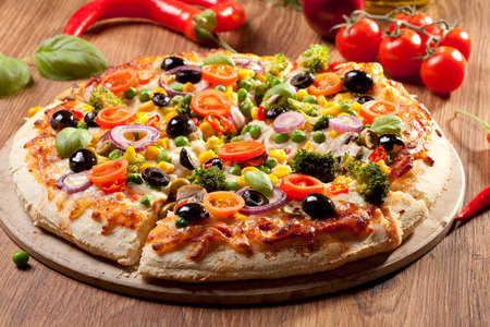 Pizza vegetarian on plate