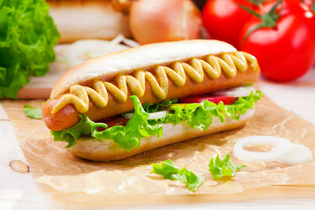 Hot dogs with mustard, ketchup on a picnic table Banco de Imagens