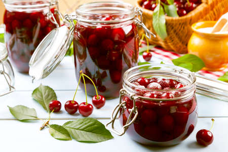 sour cherry: Homemade cherry compote