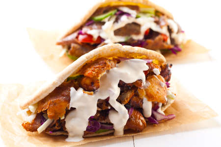 doner: Beef and Kebab in a bun with garlic sauce Stock Photo