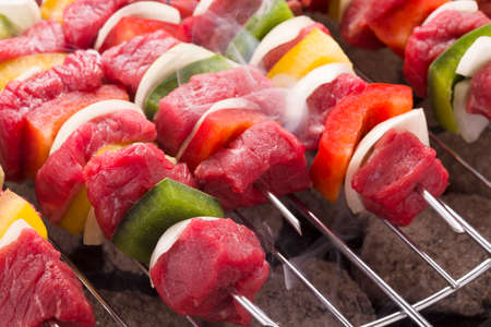 kabob: Raw beef skewers ready for grilling Stock Photo