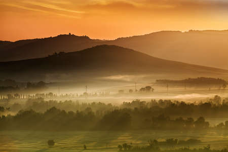miraculous: Beautiful and miraculous colors of green spring landscape at sunset of Tuscany, Italy.