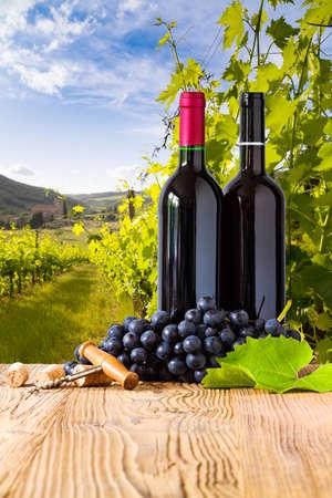 wodden 보드에 포도와 레드 와인 병입니다. 아름다운 토스카나 배경