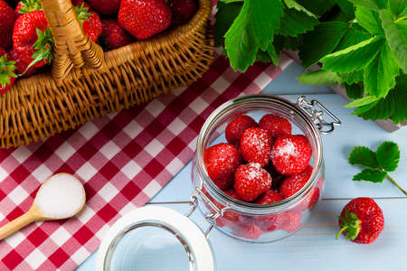 preserves: Homemade preserves, prepare compote of strawberries. Stock Photo