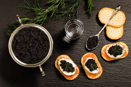 Black caviar served on crackers with vodka and additives Stock Photo