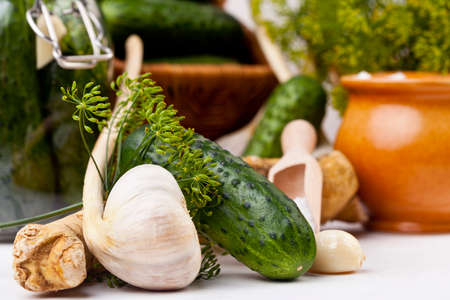 brine: Homemade pickles in brine with garlic, dill and horseradish on woodboard