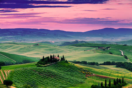 miraculous: Beautiful and miraculous colors of green spring landscape at sunset of Tuscany. Italy