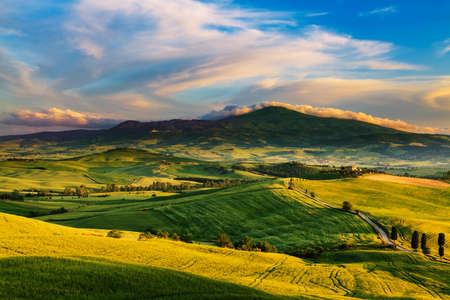 miraculous: Beautiful and miraculous colors of green spring landscape of Tuscany, Italy.