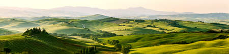 Beautiful and miraculous colors of green spring panoramic landscape of Tuscany, Italy