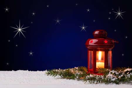 Christmas Lanterns on sky background with stars Standard-Bild