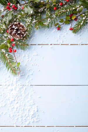 winter background - blue woodboard Standard-Bild