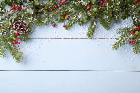 Winter achtergrond - blauw woodboard Stockfoto - 47945061