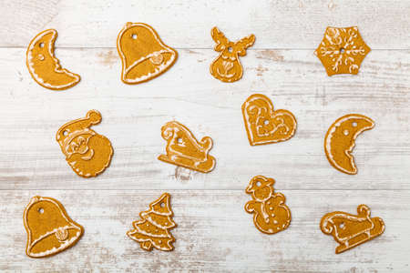 christmas baking: Christmas baking background with old white boards Stock Photo