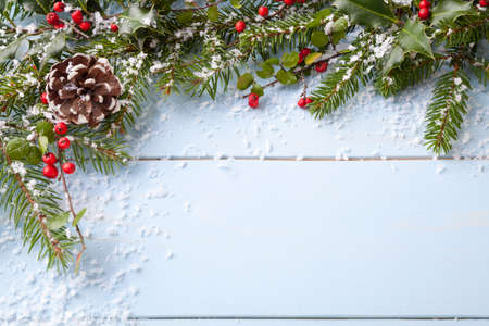 holiday celebration: winter background - blue woodboard Stock Photo