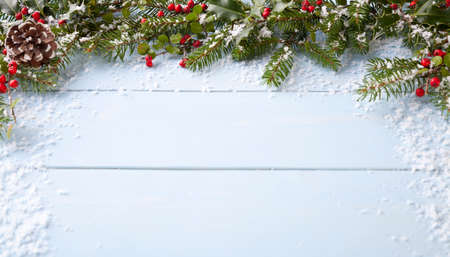 winter decorations: winter background - blue woodboard Stock Photo