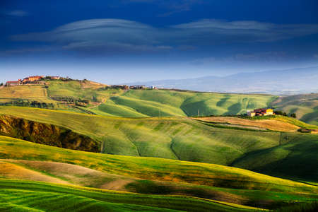 tuscany landscape: Beautiful and miraculous colors of green spring landscape of Tuscany, Italy.