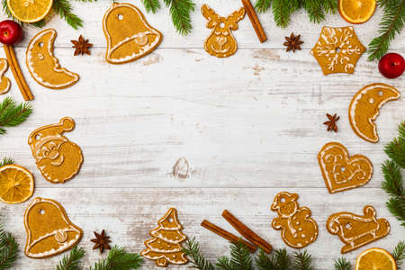 Christmas baking background with old white boards Stock Photo