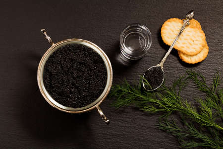 sturgeon: Black caviar served on crackers with vodka and additives Stock Photo