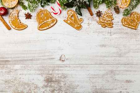 holiday cookies: Christmas baking background with old white boards Stock Photo