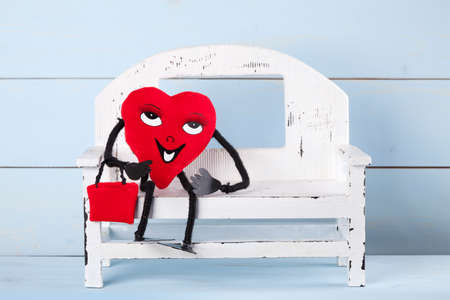 he is a traditional: Valentines Day. In love heart.