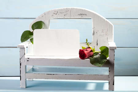 he is a traditional: Valentines Day. Bench for lovers.