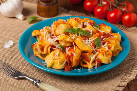 tortellini: Delicious tortellini with meat in tomato sauce, sprinkled with parmesan cheese and basil. Front view.