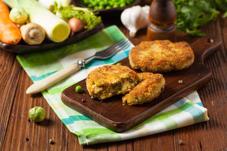 Delicious vegetarian cutlets. Front view.