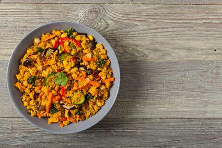 Couscous oriental. Vegetarian dish. Top view.
