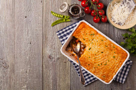 Cottage pie with beef and potatoes. Top view. Stockfoto