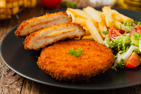 Cordon blue. Chicken fillet with ham and cheese.