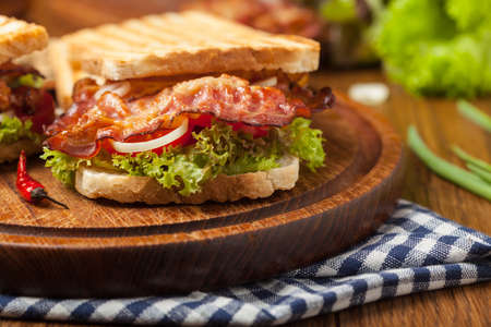 Toasted sandwich with bacon, tomato, cucumber and lettuce. Front view.