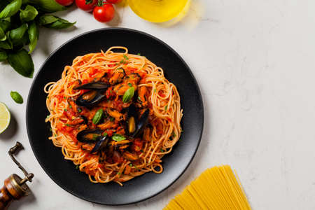 Spaghetti with mussels. Top view.