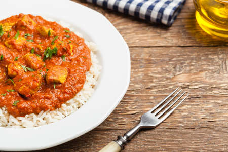 Traditional Indian and Pakistani cuisine. Tikka masala. Front view. Stock Photo