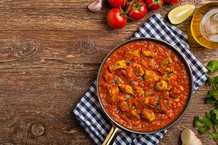 Cuisine traditionnelle indienne et pakistanaise. Tikka masala. Vue de dessus.