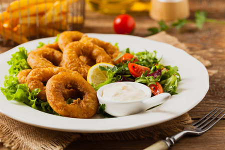 Roasted squid rings with salad and deep. Front view.