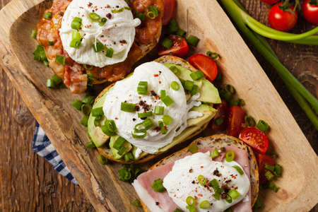 Sandwiches with a poached egg. Top view.