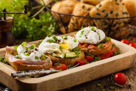 Sandwiches with a poached egg. Front view. Reklamní fotografie