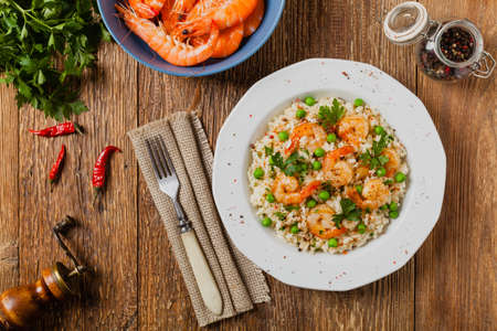 Risotto With Shrimp. Top view. Flat lay