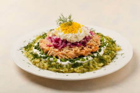 Traditional Russian Mimosa salad with salmon cheese and potatoes. Front view Stok Fotoğraf - 130073751