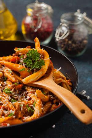 Maccheroni al ferretto with beef in ragu bolognese. front view. Stock Photo