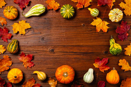 Wooden background. Arranged autumn leaves and pumpkins. Top view.