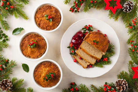 Small, baked patties in Christmas decoration. Top view.