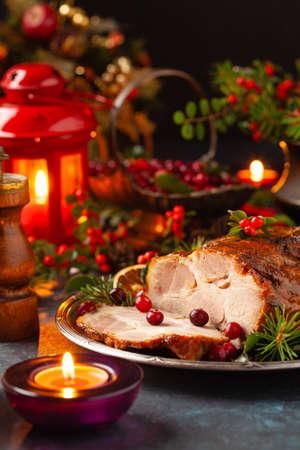 Roast pork neck in Christmas style.