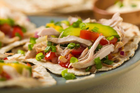 Mini tortillas with tomato salsa, avocado and boiled chicken. Front view.
