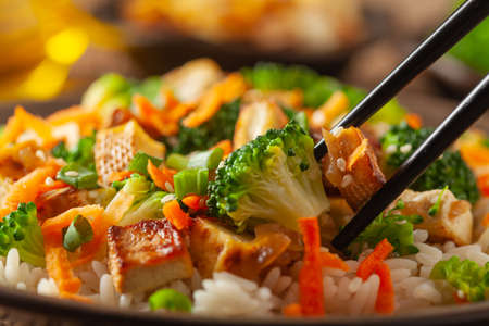 Tofu with rice and vegetables. Served on brown plate. Close up.