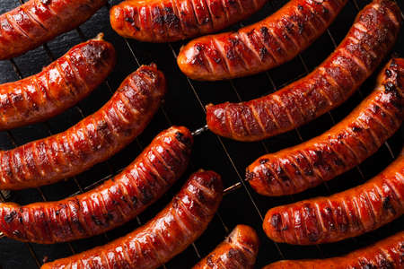 Grilled sausages. Top view.